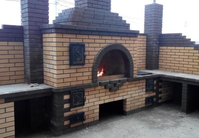 Мангал коптильня печь для казана из кирпича чертежи