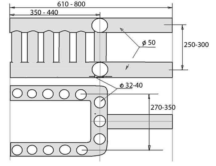 Печь из трубы с водяным контуром чертежи